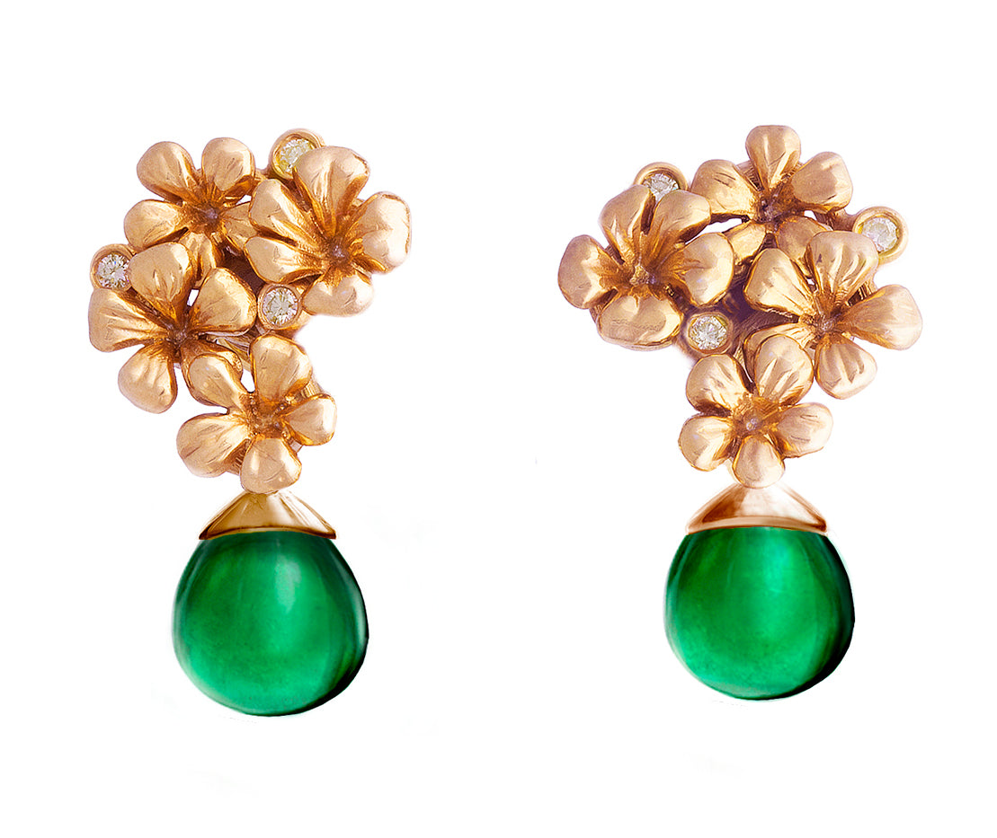 14 Karat Rose Gold Flowers Cocktail Earrings by the Artist with Diamonds