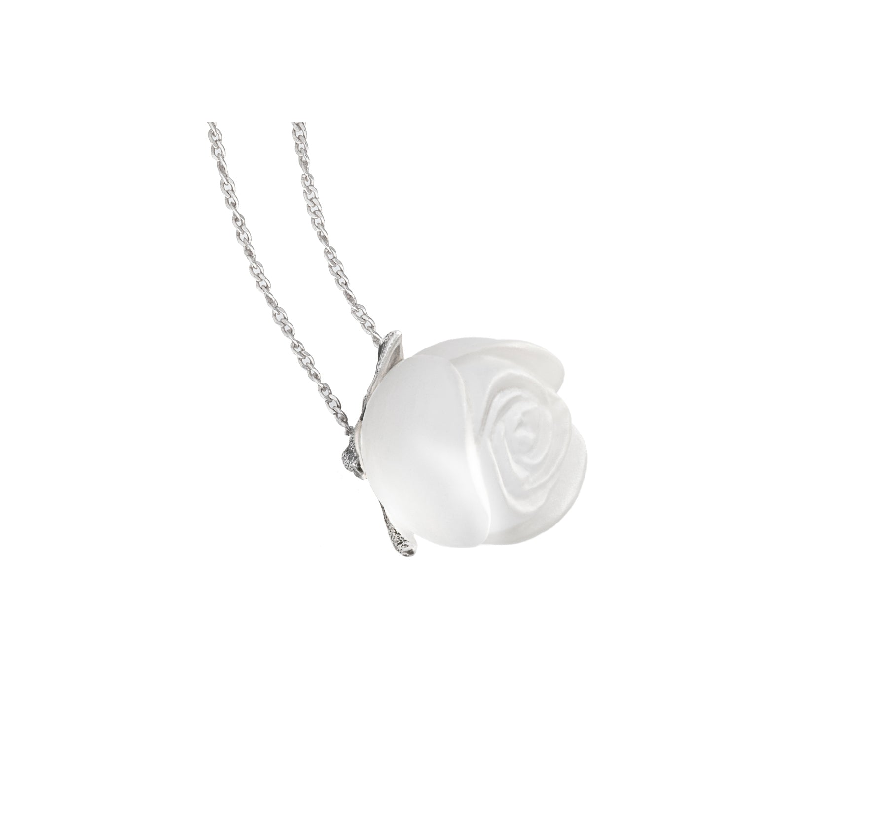 Crystal rose pendant in 18 KT white gold