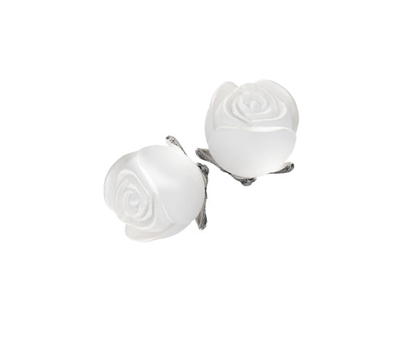 Crystal rose earrings in silver with crystal roses
