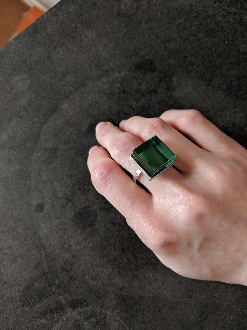 Sterling Silver Art Deco Ink Ring with Green Quartz by Artist, Featured in Vogue