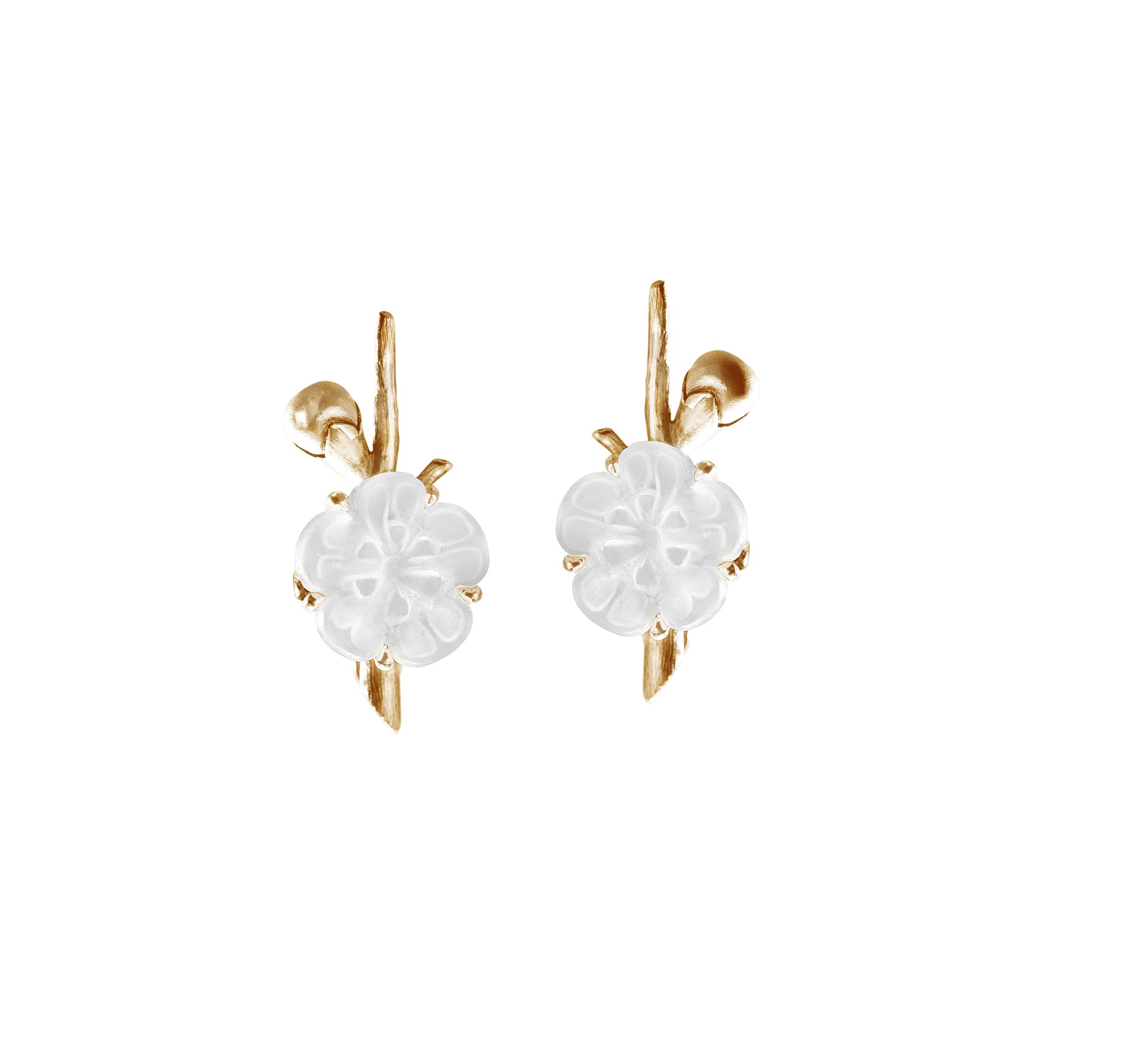 Sakura earrings in 14 KT yellow gold