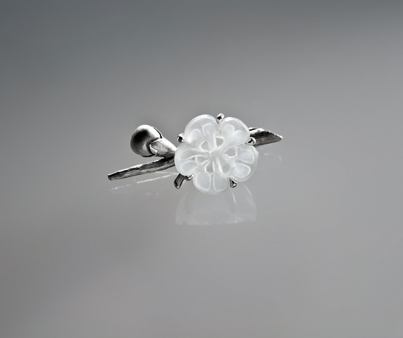Sakura Contemporary Ring by the Artist in Silver with Rock Crystal Flower