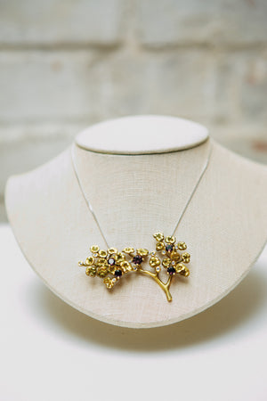18 Karat Yellow Gold Heliotrope Necklace by the Artist, Spinels and Diamonds