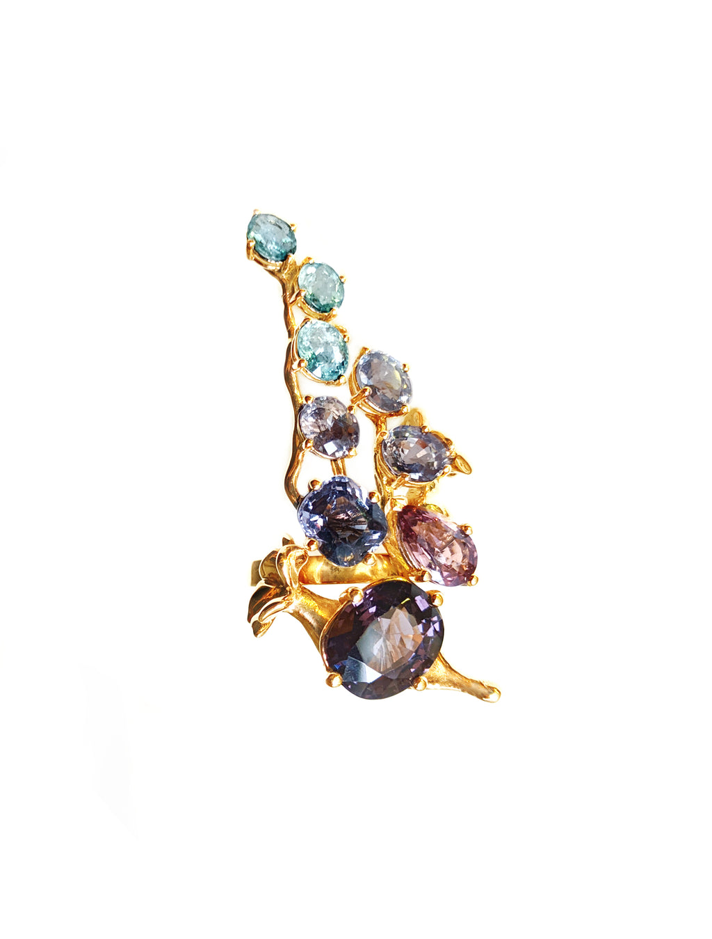 Rose Gold Tobacco Cocktail Ring with Sapphires, Spinels and Paraiba Tourmalines