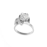 White Gold Flower Ring with 1.01 Carat Cushion Diamond