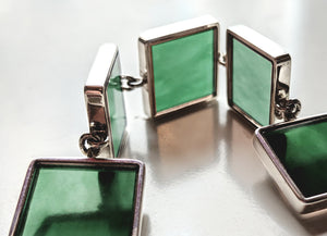 Art Deco Bracelet with Dark Green Quartzes, Collection Featured in Vogue