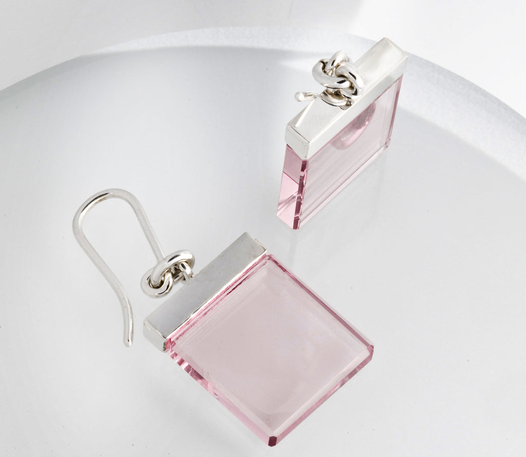 18 Karat White Gold Contemporary Ink Earrings by Artist with Rose Quartz