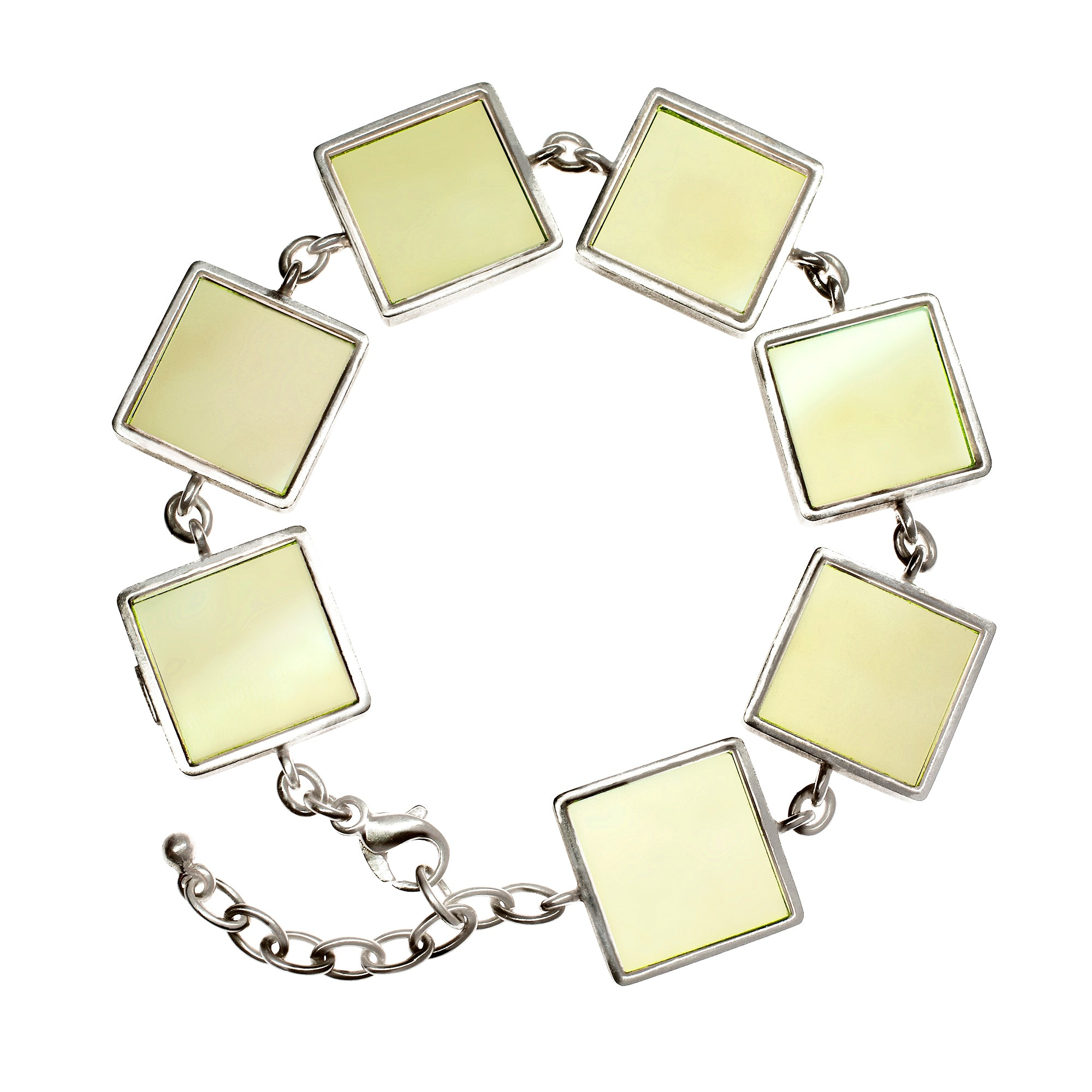 Sterling Silver Art Deco Bracelet with Lemon Quartzes, Featured in Vogue