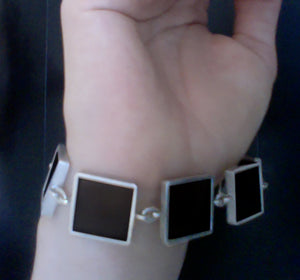 Ink Bracelet with Morions or Dark Smoky Quartzes in White Gold