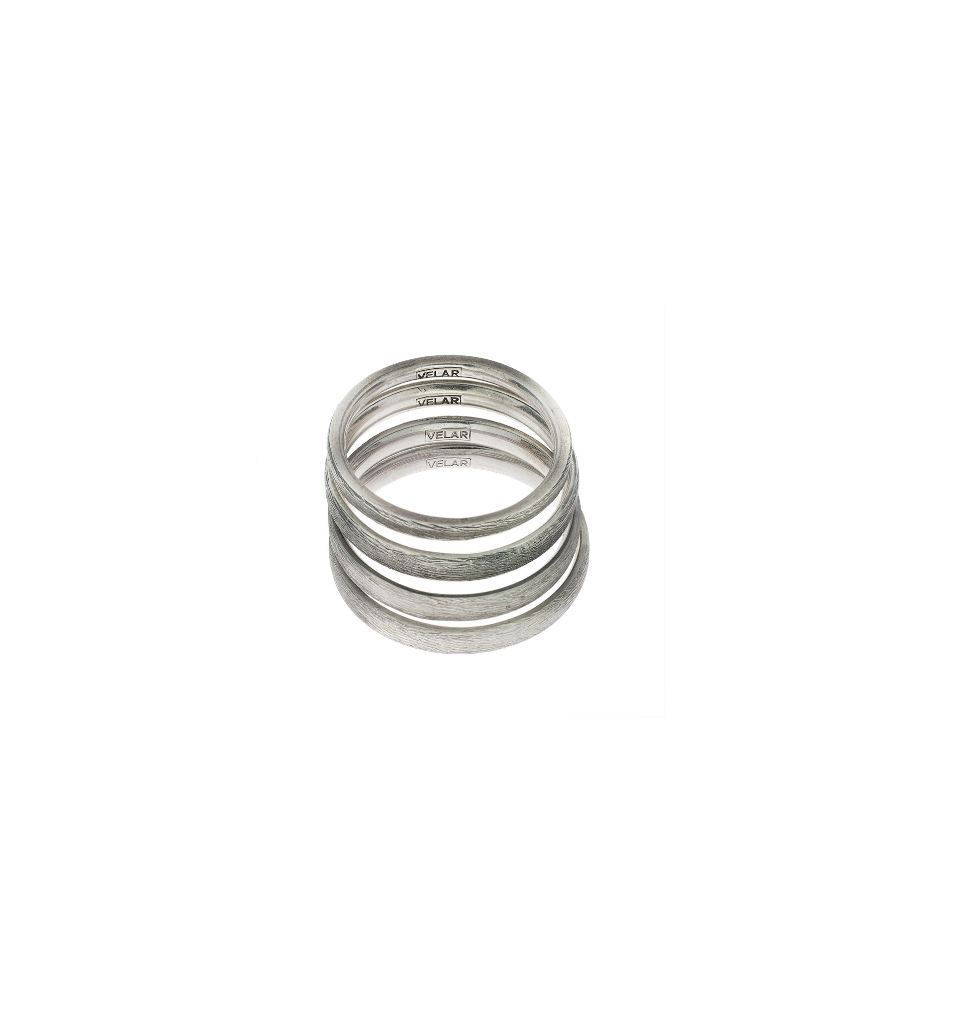 Wood ring in silver