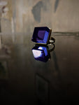 Yellow Gold Plated Sterling Silver Art Deco Ink Ring with Amethyst