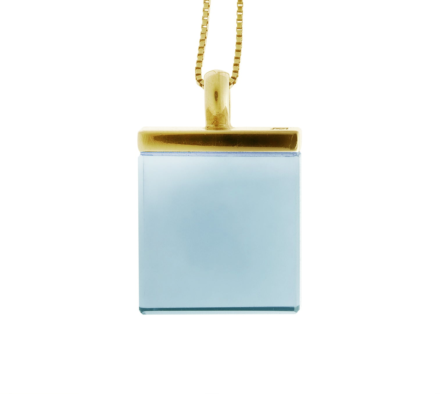 Yellow Gold Ink Pendant Necklace with Sky Blue Chalcedony