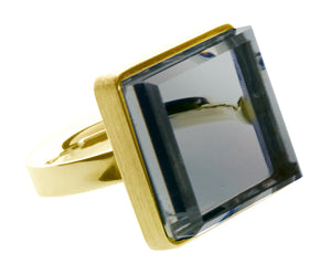 18 Karat Yellow Gold Ring with Light Blue Quartz, Featured in Vogue