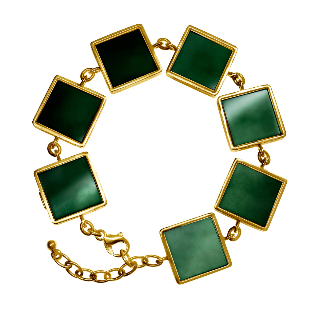 14 Karat Gold Art Deco Bracelet with Dark Green Quartzes, Featured in Vogue