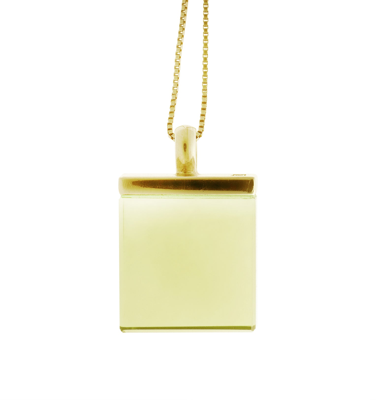 18 Karat Yellow Gold Designer Pendant with Lemon Quartz, featured in Vogue UA