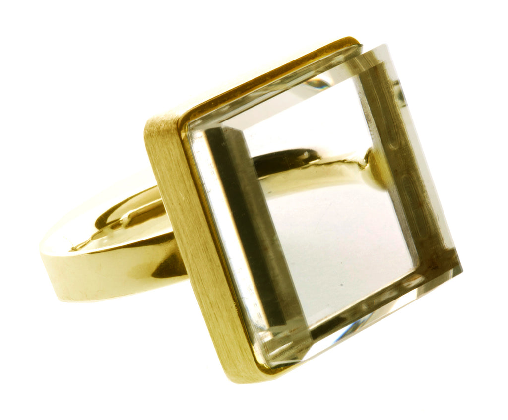 Yellow Gold Art Deco Ring with Citrine by the Artist