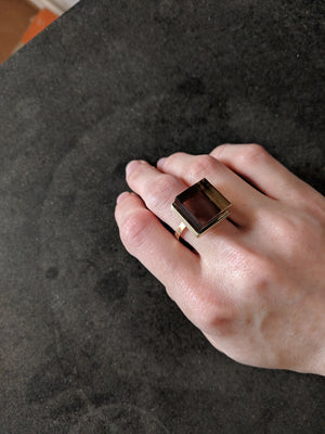 Silver Ink Ring with smoky quartz
