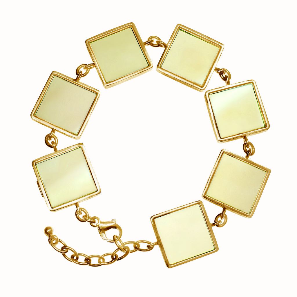Yellow Gold Art Deco Bracelet with Big Lemon Quartzes, Featured in Vogue
