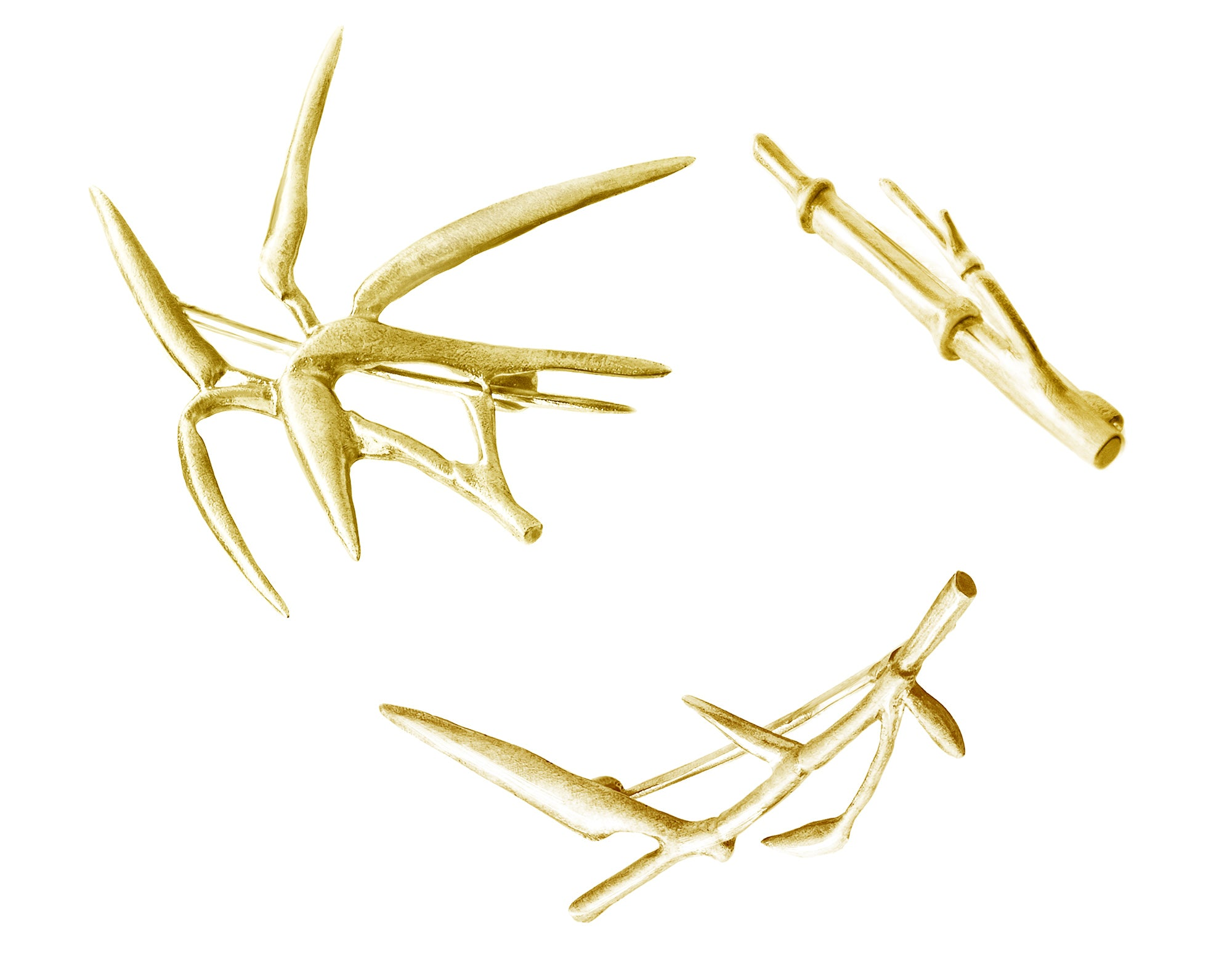 18 Karat Yellow Gold Bamboo Brooch N2