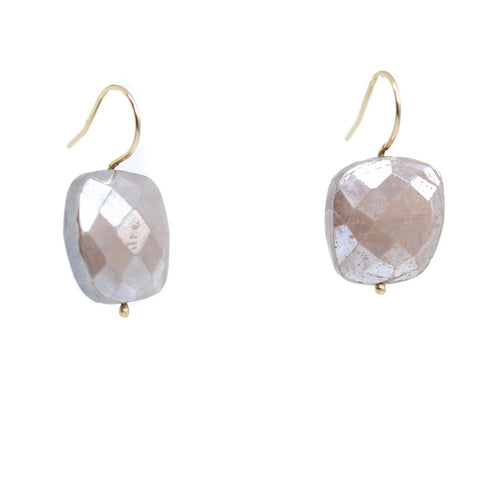 Glitter Cushion Earrings, Peach Moonstone