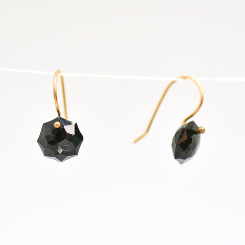 Black Garnet Octagon Earrings