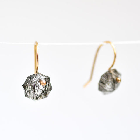 Tourmalated Quartz Octagon Earrings