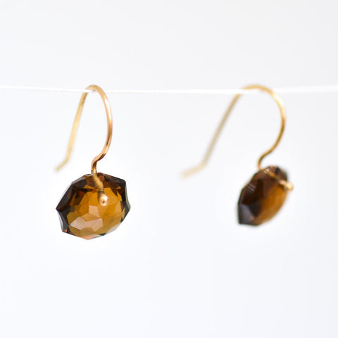 Beer Quartz Octagon Earrings