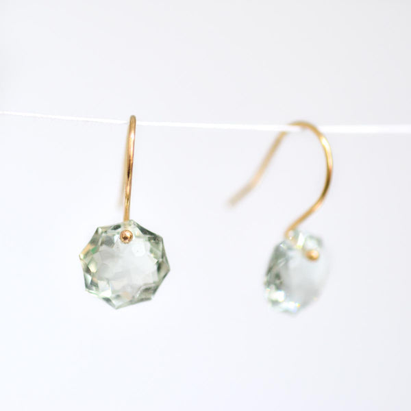 Green Amethyst Octagon Earrings