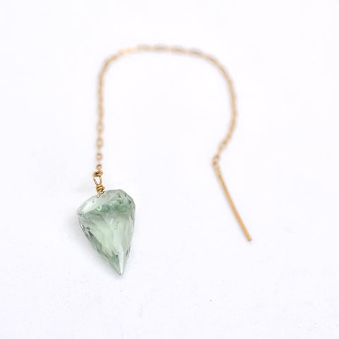 Green Amethyst Gold Chain Earrings