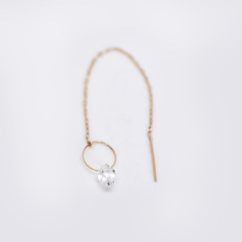 Herkimer Diamond Gold Chain Earring