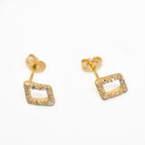 Sparkle Frame Diamond Pave Stud Earrings