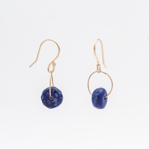 Single Stone Lapis Wheel Earring