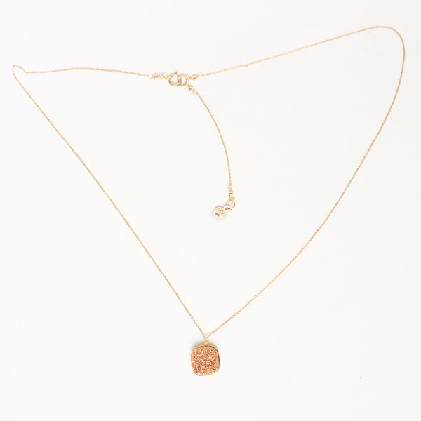 Druzy Cushion Necklace, Rose Gold