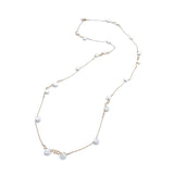 Ring around Keshi Pearl - long necklace