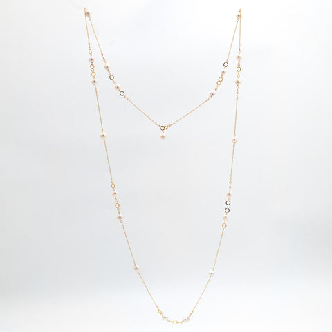 Ring around Baroque Pearl - long necklace