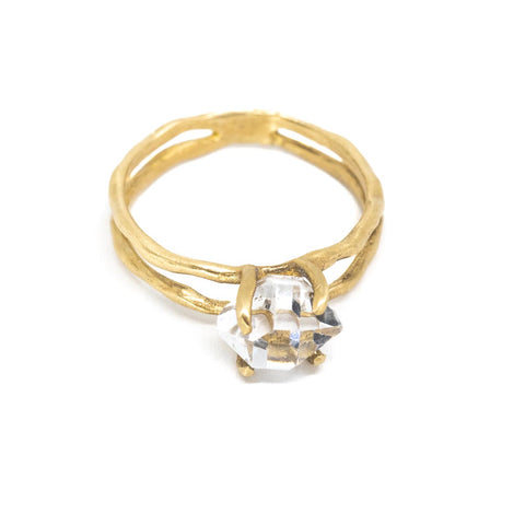 "Herkimer Diamond ""Une"" Frame Ring"