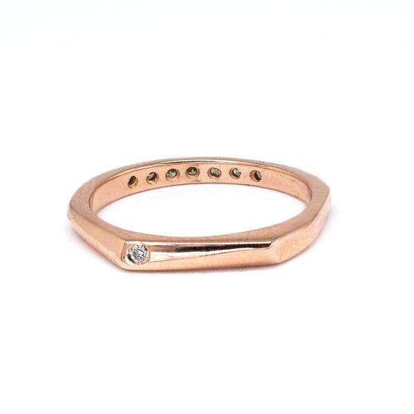 Double-faced Rose Gold champagne row diamond ring