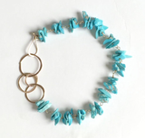 Ocean Blue Two Ring Bracelet- Turquoise