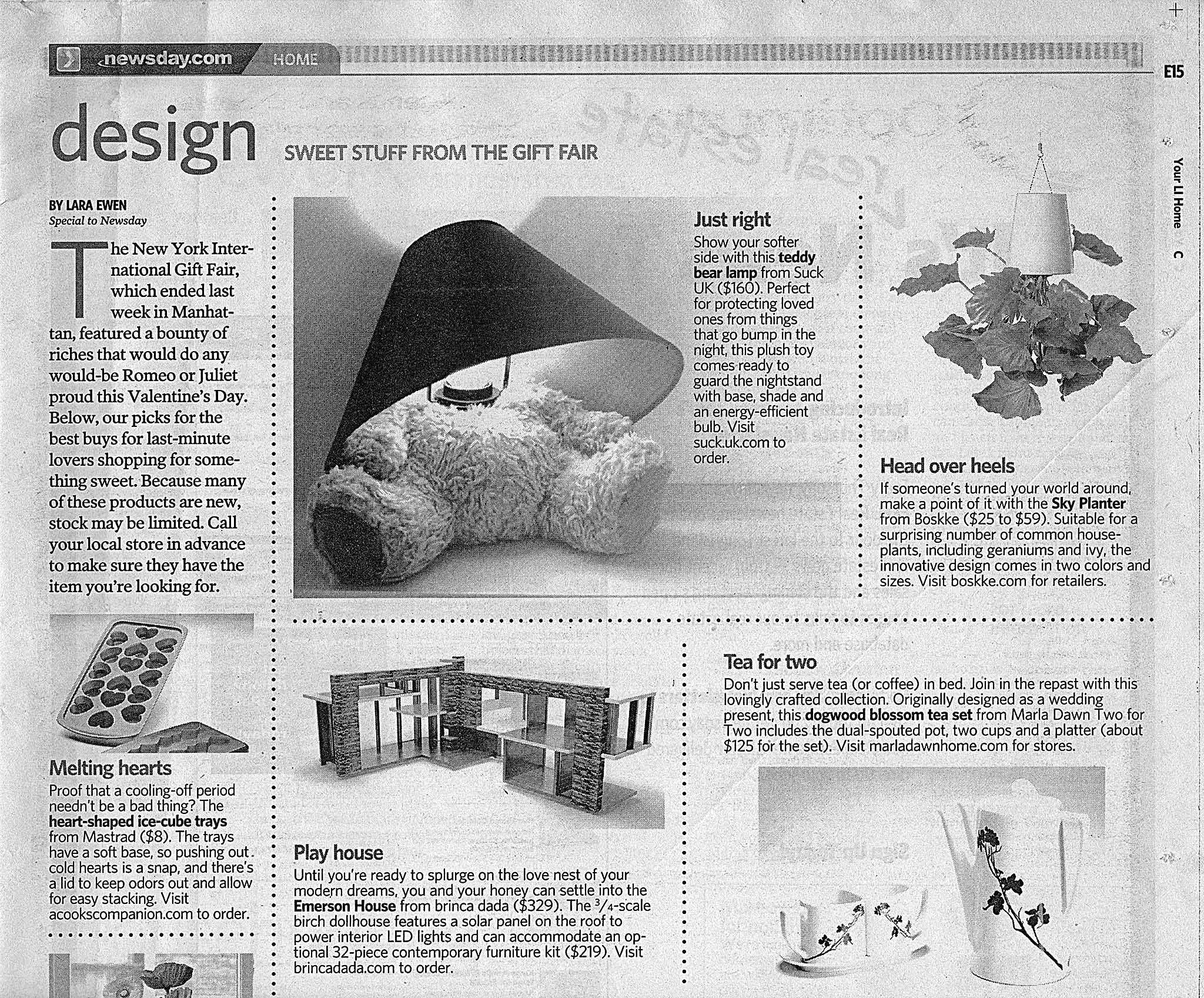 """Newsday.com, """"Home/Design: Sweet Stuff from the Gift Fair: """"Marla Dawn Home's Tea for Two set,"""" by Lara Ewen, February 11, 2011."""