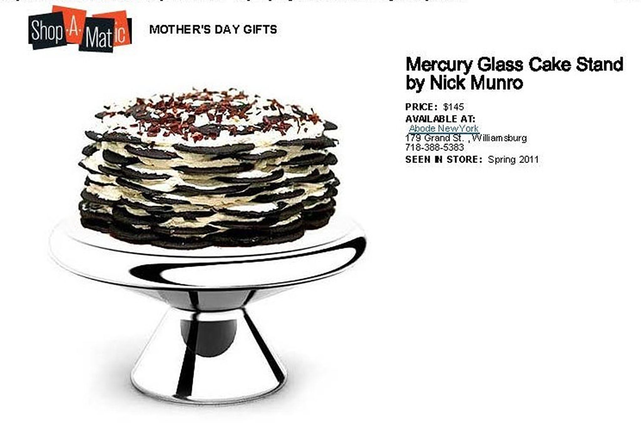 New York Magazine, Shop-a-Matic 2011 Mother's Day Gift Guide: Captains of Industry apron by Hellman & Billings, Nouma Salt & Pepper shakers by Ceramik B and Marla Dawn's Two for Tea teapot set and Nick Munro's Mercury Glass Cake Stand, April 30, 2011.