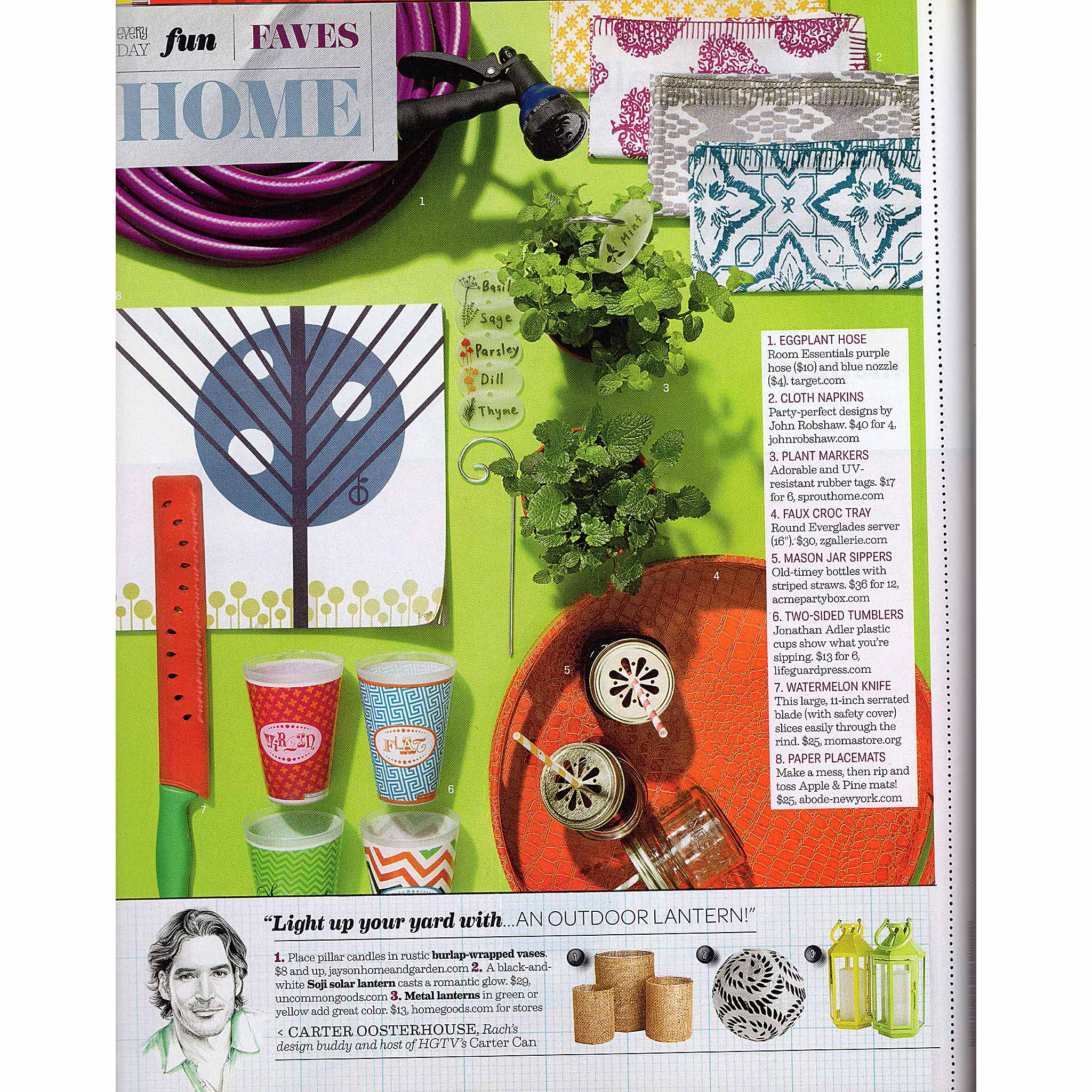 """Every Day with Rachael Ray, """"Every Day Fun - Faves / Home,"""" Ferm Living Apple and Pine paper place mats, June/July 2011."""
