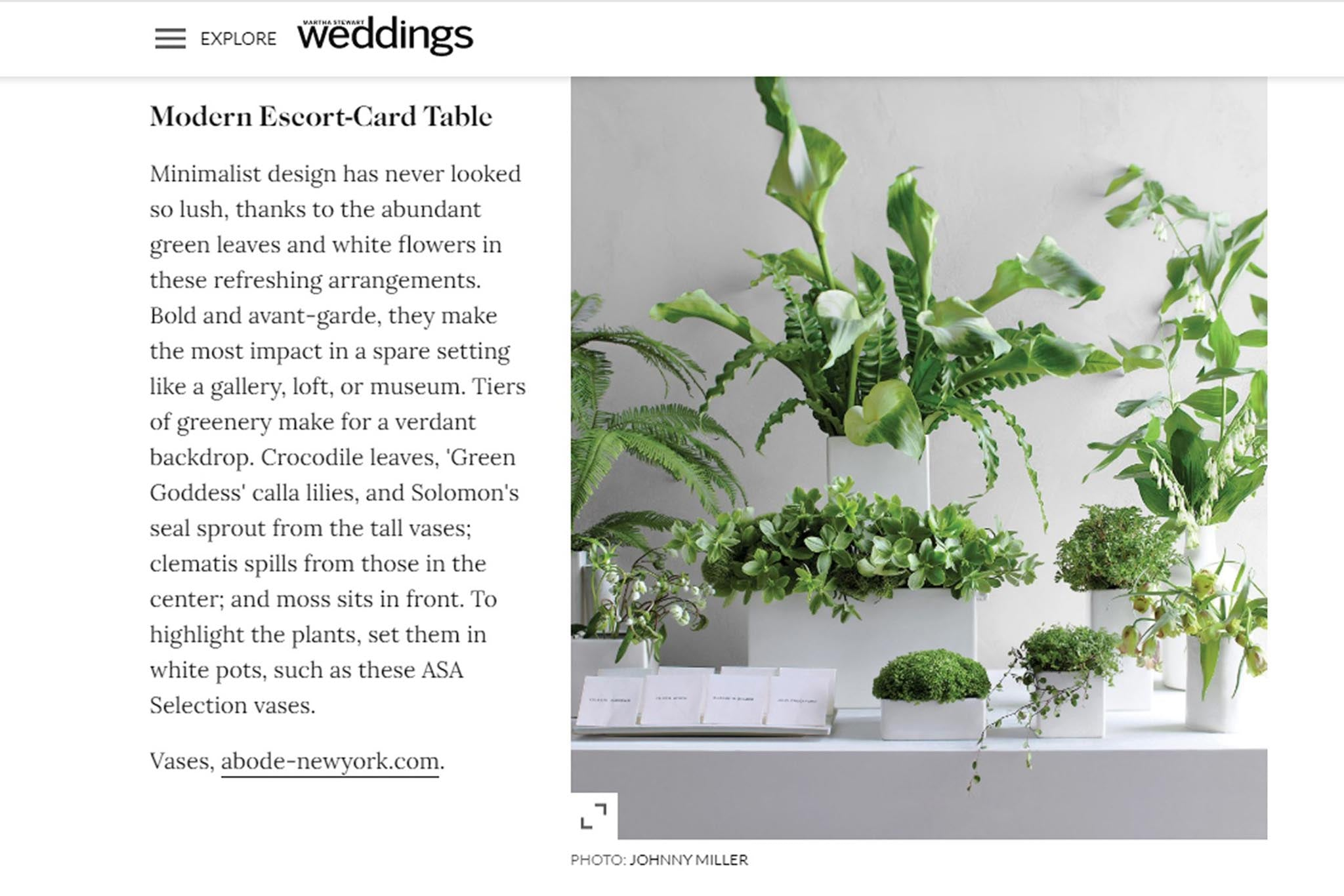 Wedding Flower Ideas for Every Style of Bride: Modern Escort-Card Table
