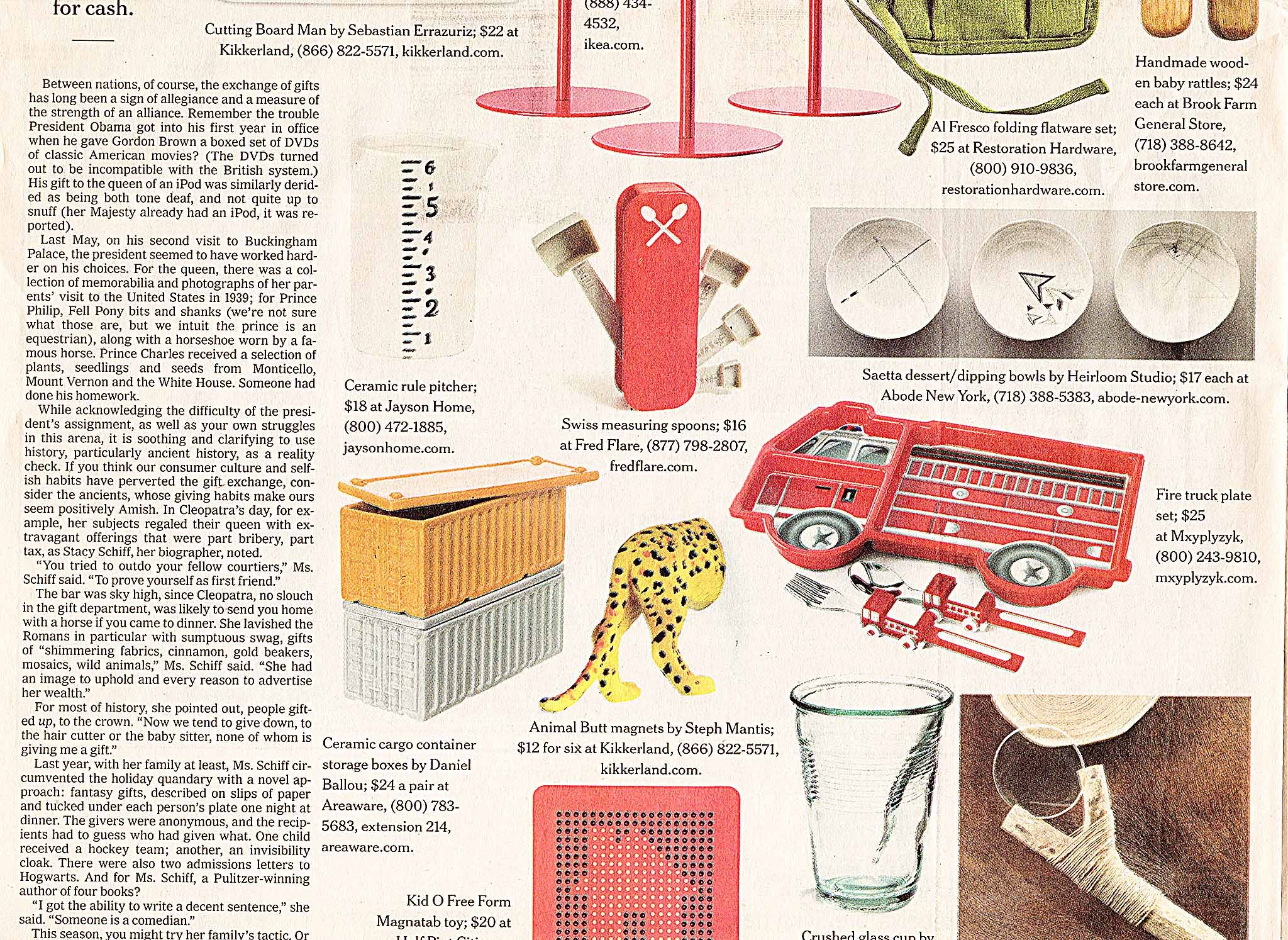 """The New York Times: Holiday Gift Guide 2011, """"25 Home and Decorating Gifts for $25 and Under,"""" by Tim McKeough and Rima Suqi, Saetta Dessert/Dipping Bowls by Heirloom Studio, December 1, 2011."""