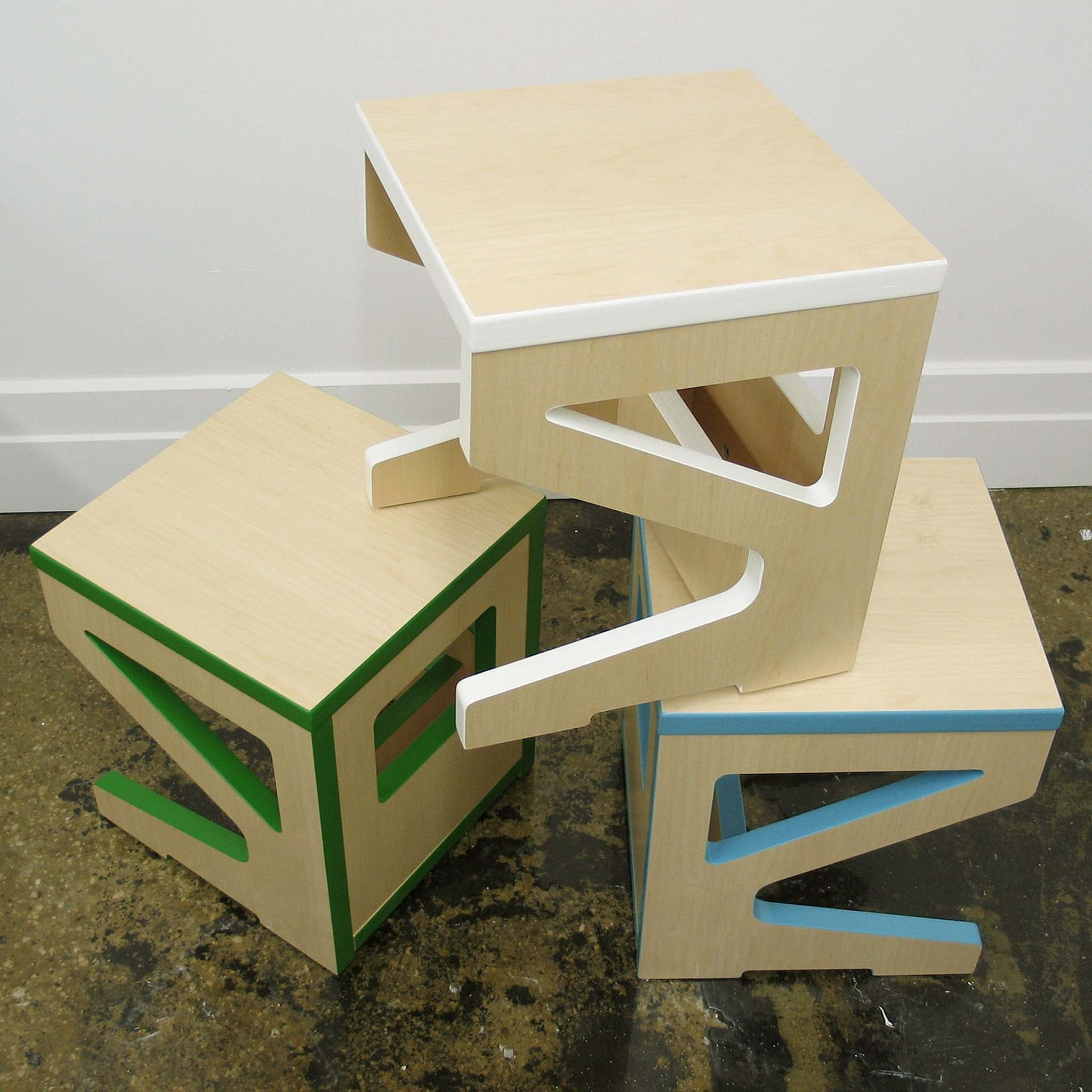 Tree Table Collection with Pocket Stools by April Hannah. Nature inspired. Eco-friendly.