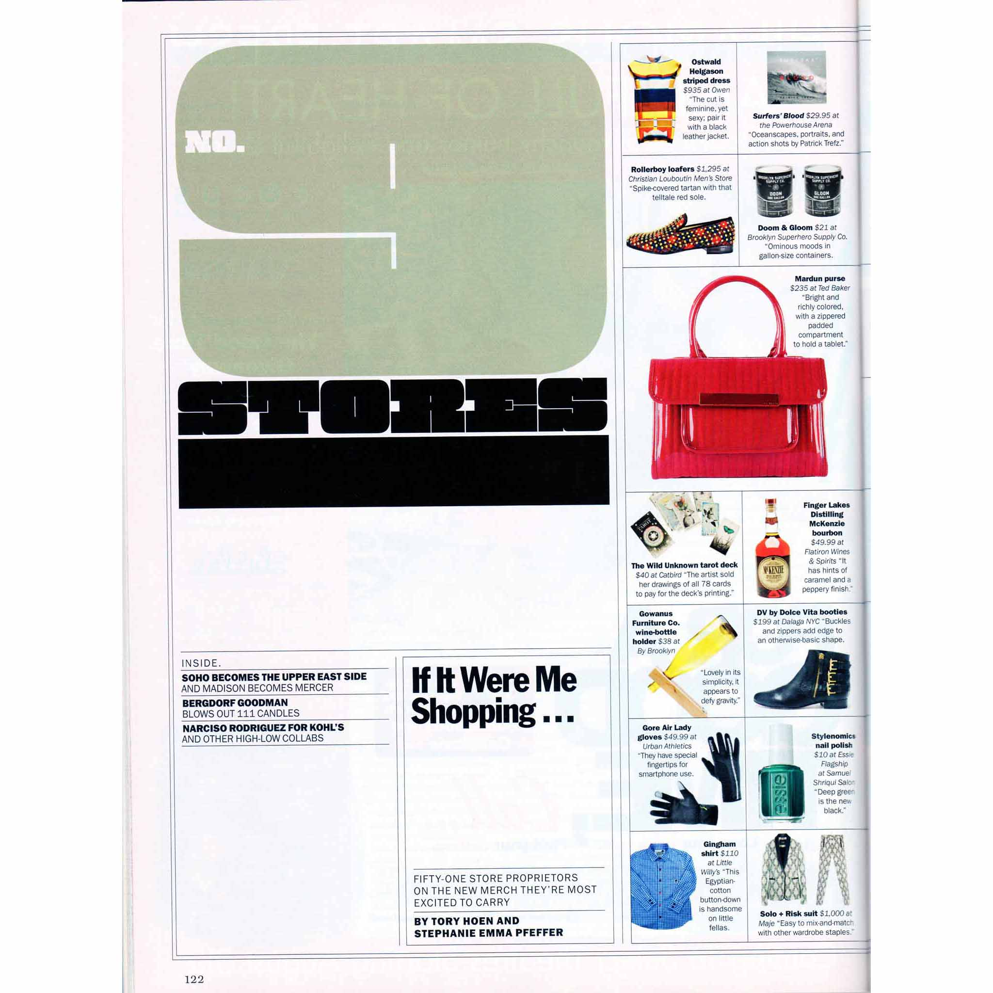New York Magazine, Fall Preview 2012: If It Were Me Shopping, August 27 – September 3, 2012, pages 122-23.