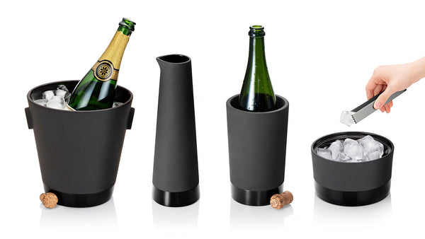 Magisso Cooling Ceramics for drinks collection: champagne bucket; 1L Carafe; Wine Cooler; and Ice Bucket with Tongs