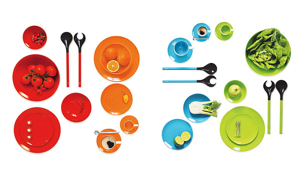 ASA Selection Colour It porcelain dinnerware collection in red, orange, turquoise and green.