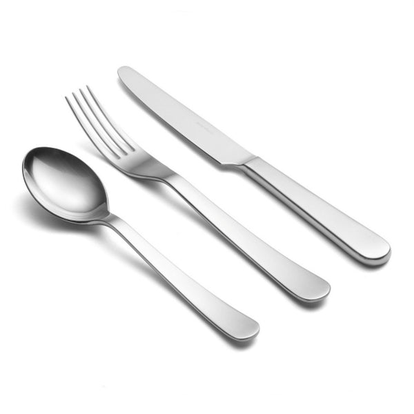 David Mellor Design Chelsea cutlery place setting by Corin Mellor. There are overtones of classic English 18th century cutlery in the satisfying shape of the hollow handled knife while the forks and spoons have a beautiful fluidity.