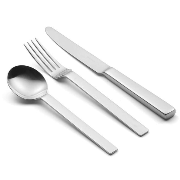 Odeon stainless steel soup spoon, table fork and table knife.