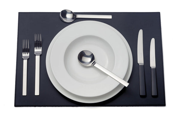 David Mellor Design Odeon black handled six-piece cutlery place setting: 1 table knife 1 dessert knife 1 table fork 1 dessert fork 1 soup spoon 1 dessert spoon. PRODUCT CODE 4993614.